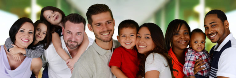 family of different races grouped together